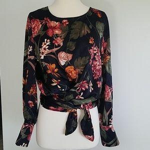 Satin floral blouse